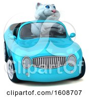 September 18th, 2018: Clipart Of A 3d White Kitty Cat Driving A Convertible On A White Background Royalty Free Illustration by Julos