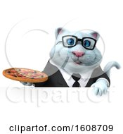 September 18th, 2018: Clipart Of A 3d White Business Kitty Cat Holding A Pizza On A White Background Royalty Free Illustration by Julos