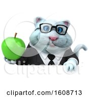 September 18th, 2018: Clipart Of A 3d White Business Kitty Cat Holding An Apple On A White Background Royalty Free Illustration by Julos