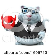 September 18th, 2018: Clipart Of A 3d White Business Kitty Cat Holding A Devil On A White Background Royalty Free Illustration by Julos