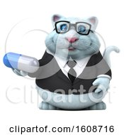 September 18th, 2018: Clipart Of A 3d White Business Kitty Cat Holding A Pill On A White Background Royalty Free Illustration by Julos