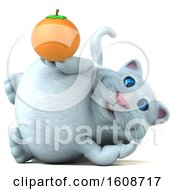 September 18th, 2018: Clipart Of A 3d White Kitty Cat Holding An Orange On A White Background Royalty Free Illustration by Julos