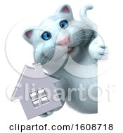 September 18th, 2018: Clipart Of A 3d White Kitty Cat Holding A House On A White Background Royalty Free Illustration by Julos