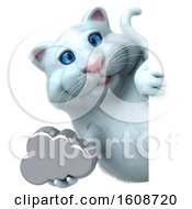 September 18th, 2018: Clipart Of A 3d White Kitty Cat Holding A Cloud On A White Background Royalty Free Illustration by Julos