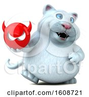 September 18th, 2018: Clipart Of A 3d White Kitty Cat Holding A Devil On A White Background Royalty Free Illustration by Julos