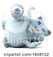 September 18th, 2018: Clipart Of A 3d White Kitty Cat Holding An Eyeball On A White Background Royalty Free Illustration by Julos