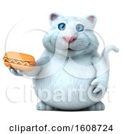 September 18th, 2018: Clipart Of A 3d White Kitty Cat Holding A Hot Dog On A White Background Royalty Free Illustration by Julos