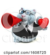Poster, Art Print Of 3d White Business Kitty Cat Holding A Heart On A White Background