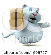 September 18th, 2018: Clipart Of A 3d White Kitty Cat Holding Boxes On A White Background Royalty Free Illustration by Julos