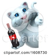 September 18th, 2018: Clipart Of A 3d White Kitty Cat Holding Wine On A White Background Royalty Free Illustration by Julos