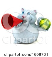 September 18th, 2018: Clipart Of A 3d White Kitty Cat Holding A Globe On A White Background Royalty Free Illustration by Julos