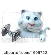 Clipart Of A 3d White Kitty Cat Holding A Dumbbell On A White Background Royalty Free Illustration