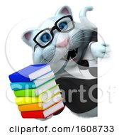 Clipart Of A 3d White Business Kitty Cat Holding Books On A White Background Royalty Free Illustration