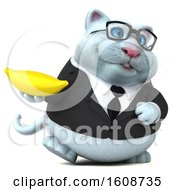 September 18th, 2018: Clipart Of A 3d White Business Kitty Cat Holding A Banana On A White Background Royalty Free Illustration by Julos