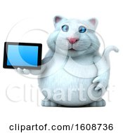 September 18th, 2018: Clipart Of A 3d White Kitty Cat Holding A Tablet On A White Background Royalty Free Illustration by Julos