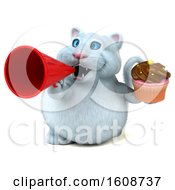 September 18th, 2018: Clipart Of A 3d White Kitty Cat Holding A Cupcake On A White Background Royalty Free Illustration by Julos