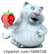 September 18th, 2018: Clipart Of A 3d White Kitty Cat Holding A Strawberry On A White Background Royalty Free Illustration by Julos