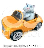 Clipart Of A 3d White Kitty Cat Driving A Convertible On A White Background Royalty Free Illustration