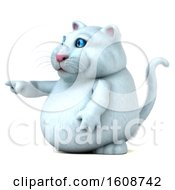 Clipart Of A 3d White Kitty Cat Pointing On A White Background Royalty Free Illustration