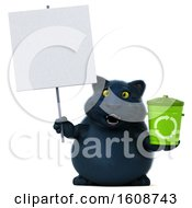 3d Black Kitty Cat Holding A Recycle Bin On A White Background