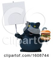 3d Black Kitty Cat Holding A Burger On A White Background