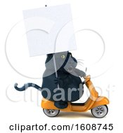 Clipart Of A 3d Black Kitty Cat Riding A Scooter On A White Background Royalty Free Illustration