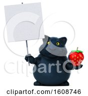 September 18th, 2018: Clipart Of A 3d Black Kitty Cat Holding A Strawberry On A White Background Royalty Free Illustration by Julos