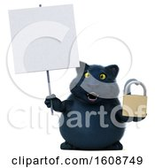 3d Black Kitty Cat Holding A Padlock On A White Background