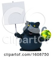 3d Black Kitty Cat Holding A Globe On A White Background