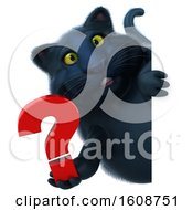 September 18th, 2018: Clipart Of A 3d Black Kitty Cat Holding A Question Mark On A White Background Royalty Free Illustration by Julos