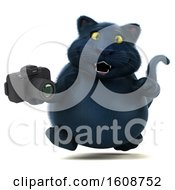 September 18th, 2018: Clipart Of A 3d Black Kitty Cat Holding A Camera On A White Background Royalty Free Illustration by Julos