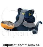 September 18th, 2018: Clipart Of A 3d Black Kitty Cat Holding A Donut On A White Background Royalty Free Illustration by Julos