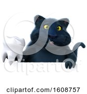September 18th, 2018: Clipart Of A 3d Black Kitty Cat Holding A Tooth On A White Background Royalty Free Illustration by Julos