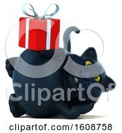 September 18th, 2018: Clipart Of A 3d Black Kitty Cat Holding A Gift On A White Background Royalty Free Illustration by Julos