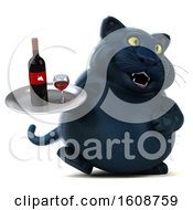 September 18th, 2018: Clipart Of A 3d Black Kitty Cat Holding Wine On A White Background Royalty Free Illustration by Julos