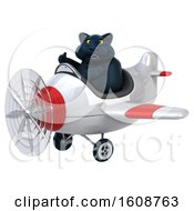 September 18th, 2018: Clipart Of A 3d Black Kitty Cat Flying A Plane On A White Background Royalty Free Illustration by Julos