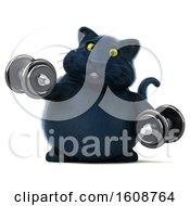 September 18th, 2018: Clipart Of A 3d Black Kitty Cat Holding Dumbbells On A White Background Royalty Free Illustration by Julos