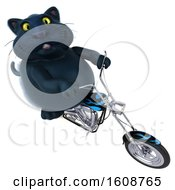 Clipart Of A 3d Black Kitty Cat Riding A Motorcycle On A White Background Royalty Free Illustration