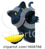 September 18th, 2018: Clipart Of A 3d Black Kitty Cat Holding A Banana On A White Background Royalty Free Illustration by Julos