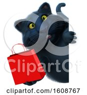 September 18th, 2018: Clipart Of A 3d Black Kitty Cat Holding A Shopping Bag On A White Background Royalty Free Illustration by Julos