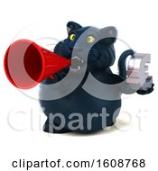 September 18th, 2018: Clipart Of A 3d Black Kitty Cat Holding A Euro On A White Background Royalty Free Illustration by Julos