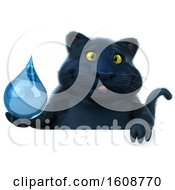 September 18th, 2018: Clipart Of A 3d Black Kitty Cat Holding A Water Drop On A White Background Royalty Free Illustration by Julos