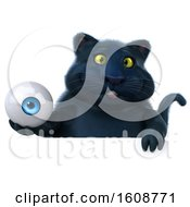 September 18th, 2018: Clipart Of A 3d Black Kitty Cat Holding An Eyeball On A White Background Royalty Free Illustration by Julos