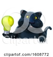 Poster, Art Print Of 3d Black Kitty Cat Holding A Light Bulb On A White Background