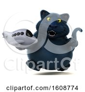 Poster, Art Print Of 3d Black Kitty Cat Holding A Plane On A White Background