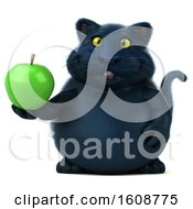 September 18th, 2018: Clipart Of A 3d Black Kitty Cat Holding An Apple On A White Background Royalty Free Illustration by Julos