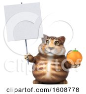 September 18th, 2018: Clipart Of A 3d Tabby Kitty Cat Holding An Orange On A White Background Royalty Free Illustration by Julos