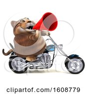 Clipart Of A 3d Tabby Kitty Cat Riding A Motorcycle On A White Background Royalty Free Illustration