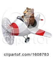 September 18th, 2018: Clipart Of A 3d Tabby Kitty Cat Flying A Plane On A White Background Royalty Free Illustration by Julos