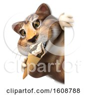 3d Tabby Kitty Cat Holding A Waffle Cone On A White Background